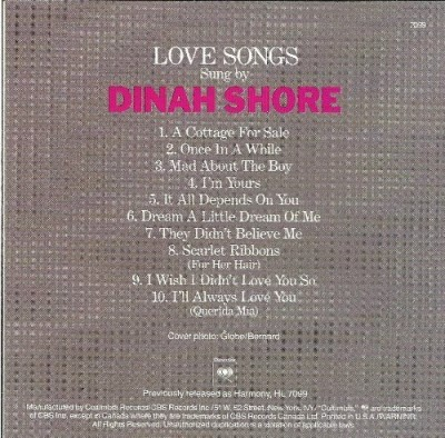 Dinah Shore Love Songs Sung