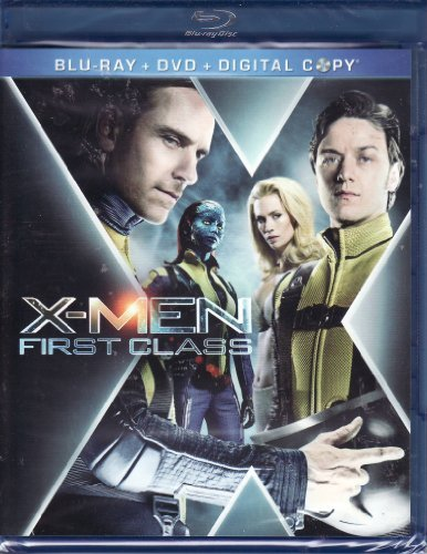 X Men First Class Mcavoy Fassbender 3 Disc Blu Ray DVD Combo + Digital Copy