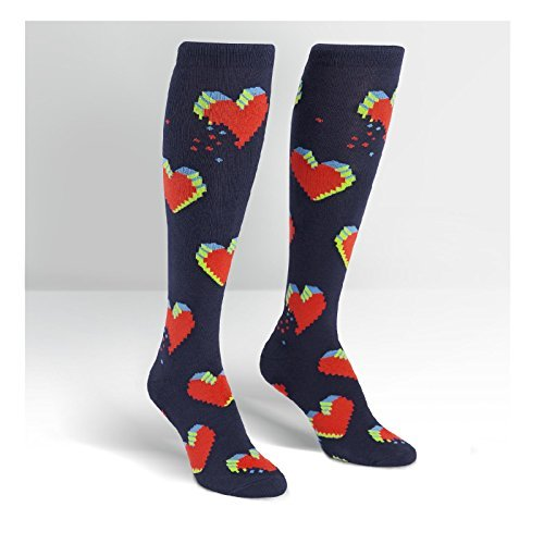 Knee Socks Pixelated Hearts