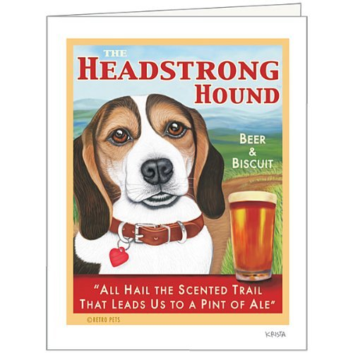 Retro Card Headstrong Beagle