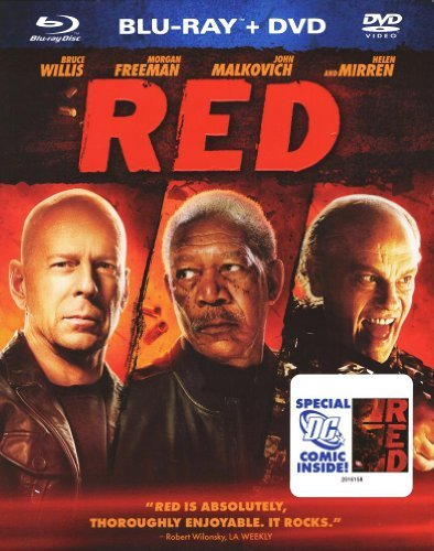 Red Willis Freeman Mirren Malkovic Blu Ray + DVD With Comic Book