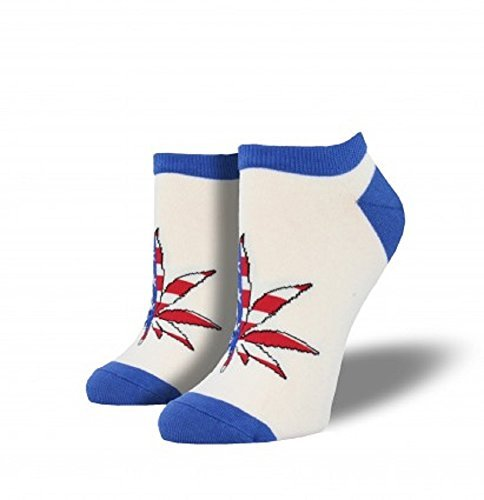 Socks Womens Crew Patriotic Plant White