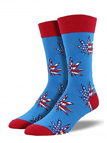 Socks Mens Crew Patriotic Plant Royal Blue