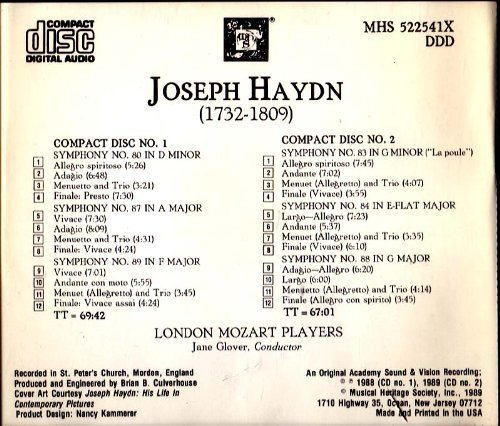 Jane Glover London Mozart Players Haydn Symphonies 80 83 84 87 88 89