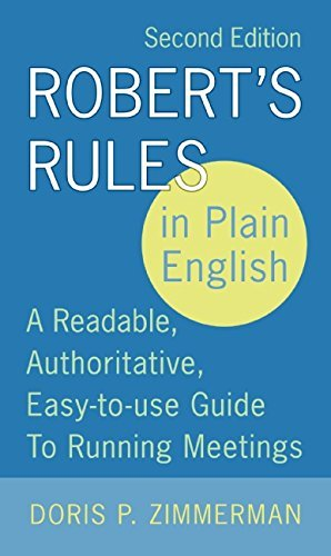 Doris P. Zimmerman Robert's Rules In Plain English 2nd Edition A Readable Authoritative Easy To Use Guide To R 0002 Edition;