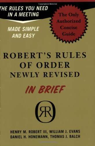 Robert Henry M. Iii Robert's Rules Of Order Newly Revised In Brief Revised