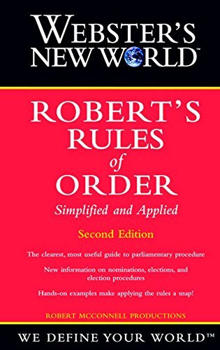 Robert Mcconnell Productions Webster's New World Robert's Rules Of Order Simpli 0002 Edition;revised