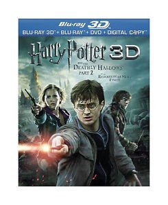 Harry Potter & The Deathly Hallows Pt 2 Radcliffe Grint Watson Blu Ray 3d DVD Digital Copy