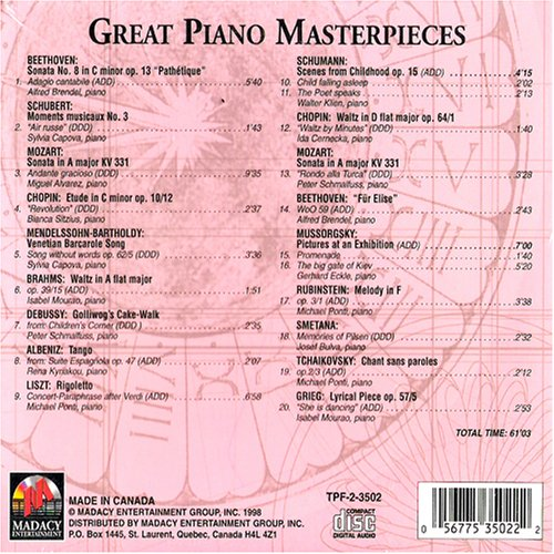 Great Piano Masterpieces Timeless Piano Favorites