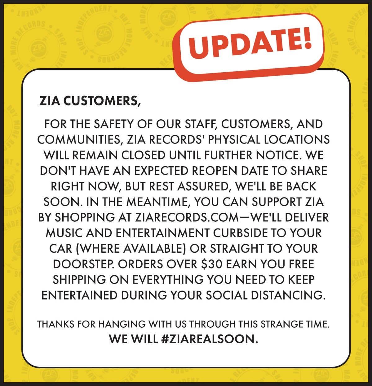 Zia Online only - Store Update 031720