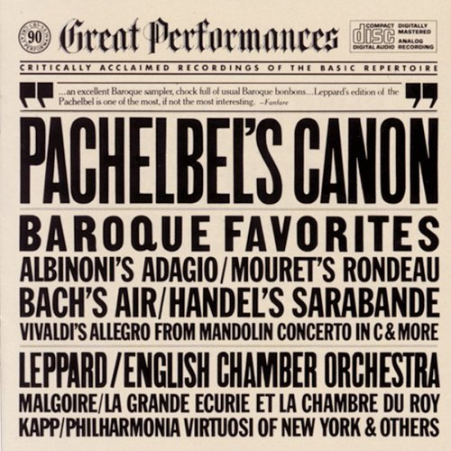 Pachelbel Albinoni Mouret Etc Canon Other Baroque Favorites Leppard English Co