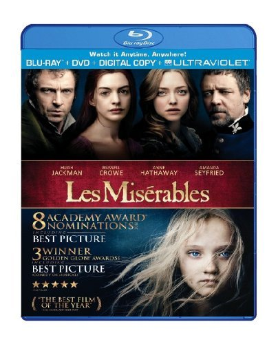 Les Miserables (2012) Jackman Hathaway Seyfried Crow Blu Ray DVD Dc Pg13