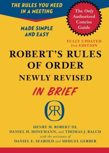 Henry M. Iii Robert Robert's Rules Of Order In Brief Updated To Accord With The Eleventh Edition Of Th 0002 Edition;revised Update