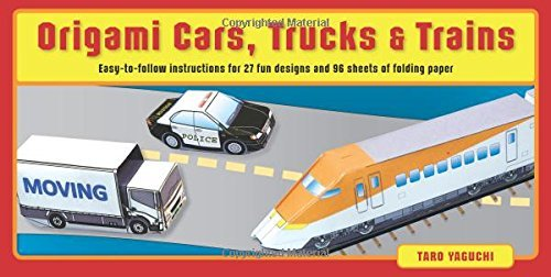 Taro Yaguchi Origami Cars Trucks & Trains Kit [origami Kit With 2 Books 96 Papers 27 Projects Book And Kit