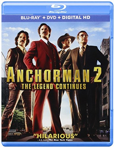 Anchorman 2 The Legend Continues Ferrell Carrell Rudd Koechner Blu Ray DVD Pg13 Ws