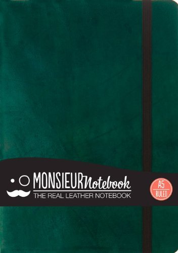 Hide Stationery Ltd Monsieur Notebook Green Leather Ruled Medium
