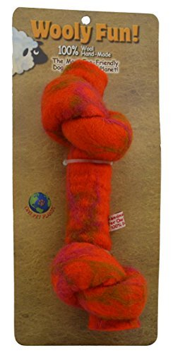"One Pet Knotted Bone Orng 6.5"""" One Pet Planet Wool Knotted Bone Chew Toy 6.5 Inch Orange"