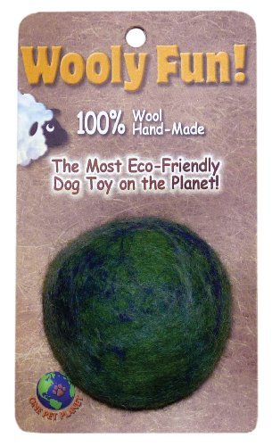 One Pet Planet Grn Marble Ball One Pet Planet 86006 2.75 Inch Wooly Fun Ball Dog Toy
