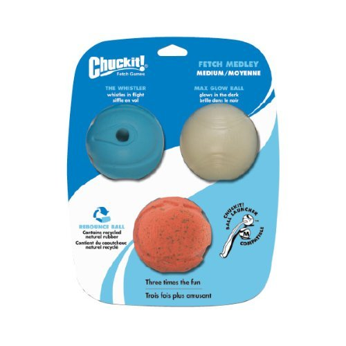 Chuckit Fetch Medley Balls Md Chuckit! Medium Fetch Medley Balls 2.5 Inch 3 Pack