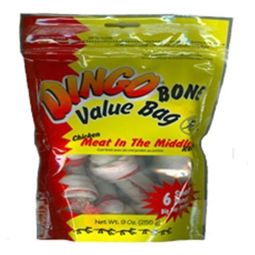 "Dingo Value Bag Sm 3.5"""" 6pk Dingo Rawhide Bone Value Bag Chicken 9oz"