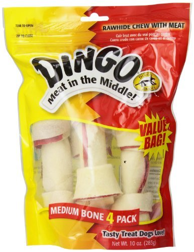 "Dingo Value Bag Md 5.5"""" 4pk Dingo Rawhide Bone Medium 4 Count Value Bag"