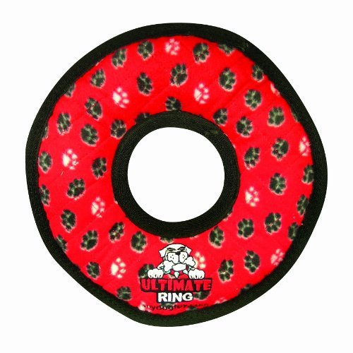 Tuffies Rumble Ring Red Large Tuffy Ultimates Ring Dog Toy Red Paws