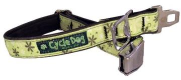 Cycle Collar Apple Retro Med Cycle Dog Bottle Opener Recycled Dog Collar With Seatbelt Metal Buckle Apple Green Retro Flowers Medium