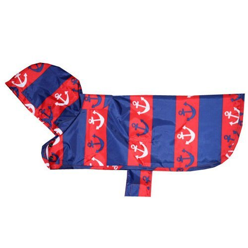 Rc Pet Products Packable Dog Rain Poncho Nautical Medium Packable Rain Poncho M Nautical