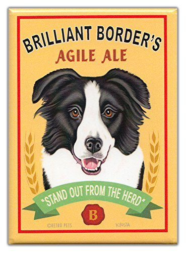 Retro Dogs Refrigerator Magnets Border Collie | Ale | Vintage Advertising Art