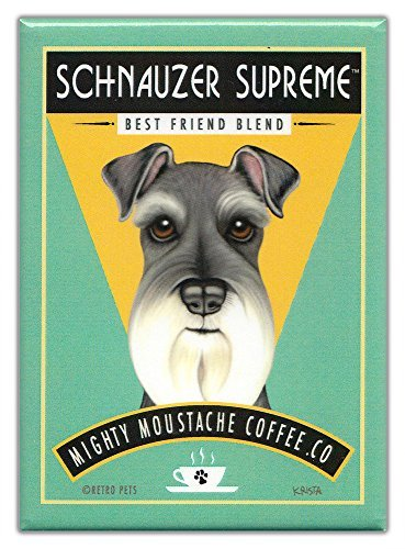 Retro Dogs Refrigerator Magnets Schnauzer | Coffee | Vintage Advertising Art
