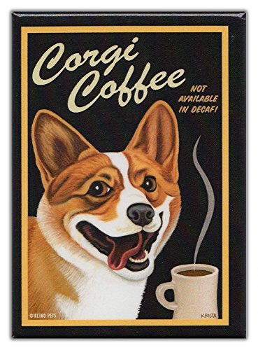 Retro Dogs Refrigerator Magnets Corgi | Coffee | Vintage Advertising Art