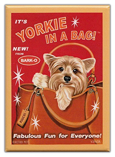Retro Dogs Refrigerator Magnets Yorkie | In A Bag | Vintage Advertising Art