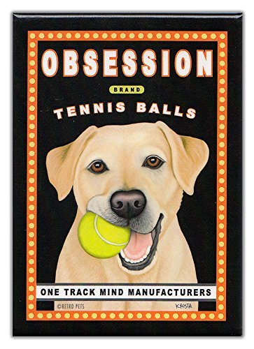 Retro Dogs Refrigerator Magnets Yellow Lab | Tennis Balls | Vintage Advertising