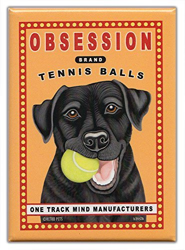 Retro Dogs Refrigerator Magnets Black Lab | Tennis Balls | Vintage Advertising
