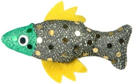 "Vo Cat Sequin Fish 1.5"""" Vo Toys Vip Set Of 4 Sequin Festive Holiday Fish Cat Kitten Toys!"