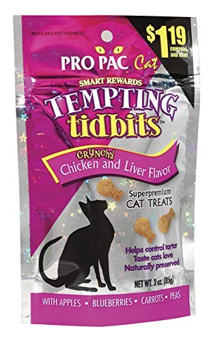 Ppac Tempting Tidbits Chick 3z Pro Pac Tempting Tidbits Crunchy Chicken And Liver Flavor Superpremium Cat Treats 3 Ounce Bag