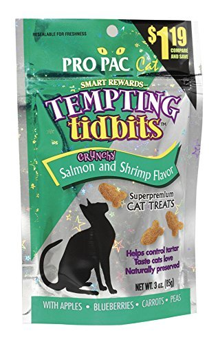 Ppac Tempting Tidbits Shrmp 3z Pro Pac Tempting Tidbits Crunchy Salmon And Shrimp Cat Treat 3 Ounce Bag