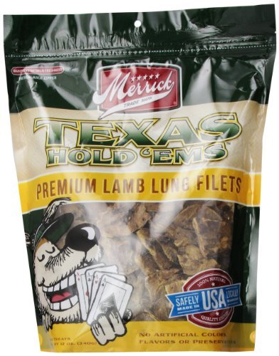Merrick Texas Hold'ems Lmb 12z Merrick Texas Hold Em's Lamb Lung Fillets Training Treats For Dogs 12 Ounce