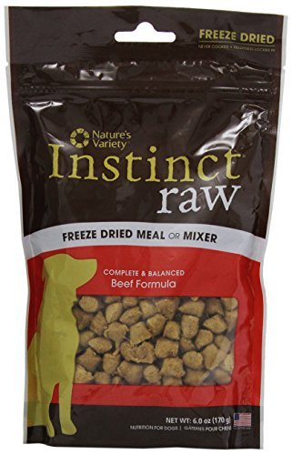 Nav Dog Instinct Fzd Beef 6oz Nature's Variety Instinct Raw Freeze Dried Meal Or Mixer Beef Formula For Dogs 6 Ounce Package