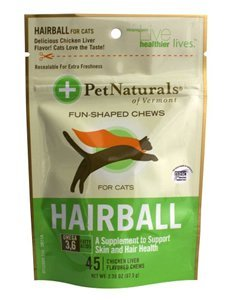 Pet Nat Cat Hairball 45ct Pet Naturals Of Vermont Hairball Soft Chews For Cats Chicken Liver Flavored 45 Each