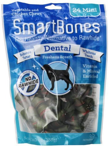 Smartbone Dental Mini 24pk Smartbones Dental Dog Chew Mini 24 Count