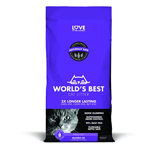 Wbl Clumping Lavender 14lb World's Best Cat Litter Cat Lavender Scented Multiple Cat Clumping Formula 14 Pound Bag