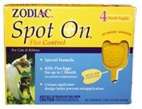 Zod Spot On Cat Flea Cntrol Zodiac Spot On Flea Control For Cats And Kittens 4 Tubes