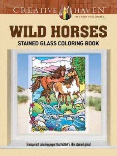 Marty Noble Creative Haven Wild Horses Stained Glass Coloring