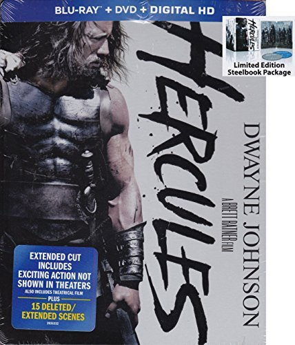 Dwayne Johnson Hercules Steelbook (blu Ray DVD Digital Hd) Blu Ray DVD Steelbook