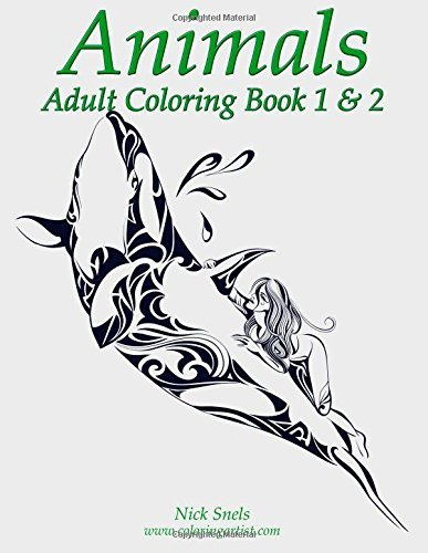 Nick Snels Animals Adult Coloring Book 1 & 2