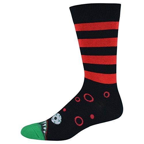 Socks Mens Crew Monster Mouth Blk