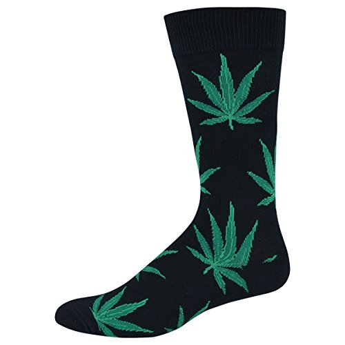 Socksmith Pot Leaves Blk Mens Crew