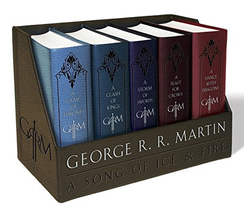 George R. R. Martin A Song Of Ice And Fire Leather Cloth Boxed Set A Game Of Thrones A Clash Of Kings A Storm Of Swords A Feast For Crows A Dance With Dragons
