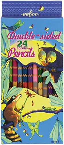 Colored Pencils Raccoon And Owl 12 Double Sided Pencils